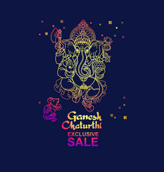 Ganesh chaturthi sale banner hand drawn vector