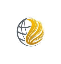 Globe wing world logo vector