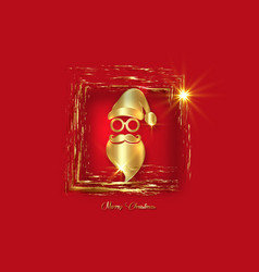 gold luxury frame santa claus christmas isolated vector image