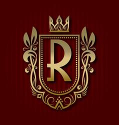 Golden royal coat of arms r monogram vector