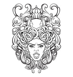 gorgone with baroque frame made in hand drawn vector image