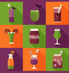 halloween party cocktails and drinks vector image