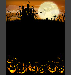 halloween party invitation with dracula castle vector image