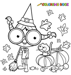 Halloween witch and pumpkins vector