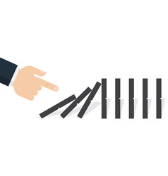 Hand pushing the domino vector