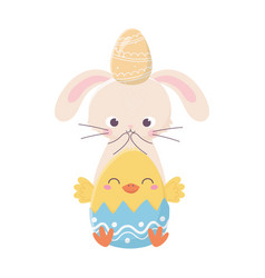 happy easter day rabbit with egg in head and vector image
