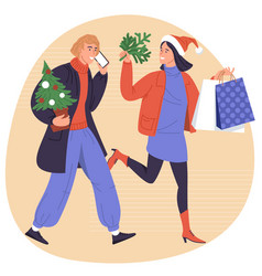 happy shopping for new year vector image