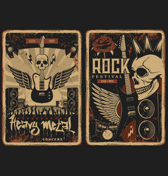 hard rock concert retro posters with skull vector image