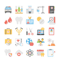 Healthcare flat set vector
