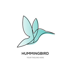 hummingbirds line logo designs vector image