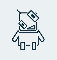 icon of a funny robot in a linear style vector image