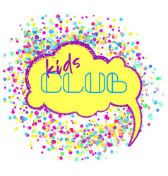 Kids club flat banner colorful bubbles vector