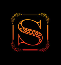 letter s with ornament vector image