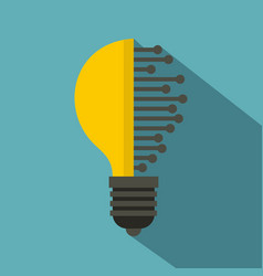 Lightbulb with microcircuit icon flat style vector