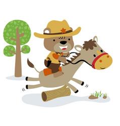 Little bear cartoon funny sheriff ride on vector