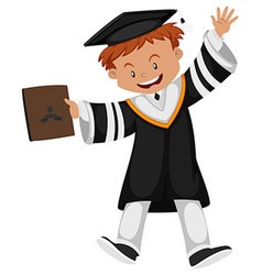 Man in black graduation gown vector image