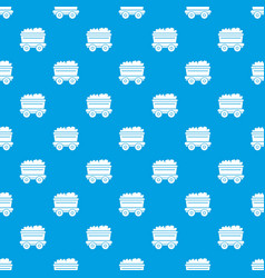 Mine cart pattern seamless blue vector