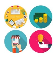 Money Team Work Idea OnlineShopping Flat Design vector