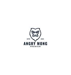 Monkey or ape head line angry logo design vector