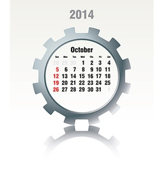 October 2014 - calendar vector image