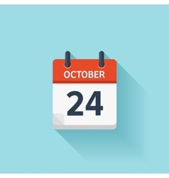 October 24 flat daily calendar icon Date vector image