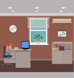 Office room interior design inside workplace with vector