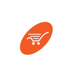 Oval shopping cart white retail logo design vector
