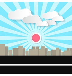 Paper Abstract Retro City with Street and vector image