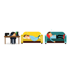 People characters sleeping at office desk and at vector
