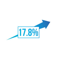 percent up arrow icon percentage arrow growth vector image