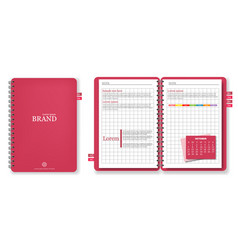 pink note book realistic 3d detailed vector image