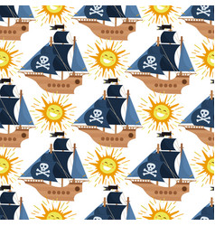pirate ship kids cartoon piracy backdrop vector image
