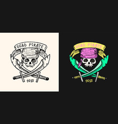 pirate skull on background daggers or vector image