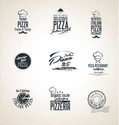 pizza labels retro labels vector image
