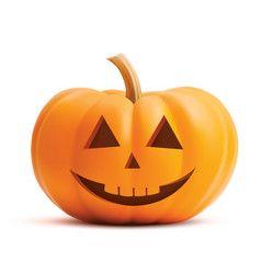 pumpkin smiling face on white background pumpkin vector image
