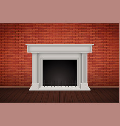 Red brick wall room with fireplace vector