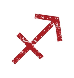 Red grunge Sagittarius logo vector image