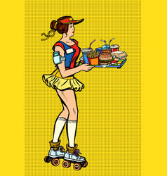 Retro fast food waitress on roller skates vector