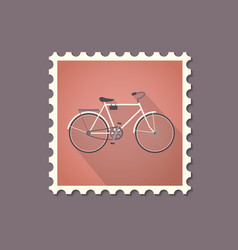 retro style bicycle flat stamp with shadow vector image