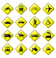 road sign glossy setof glossy road sign vector image
