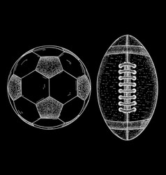 Rugby and soccer ball sketch vector
