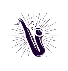 saxophone sax logo or label live music jazz vector image