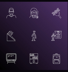 school icons line style set with physics male vector image