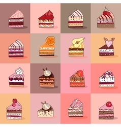 Seamless pattern with different kinds of cake vector image