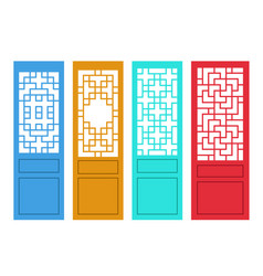 set of chinese door in flat style design vector image