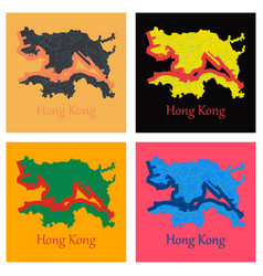 Set of flat icon in form of hongkong vector
