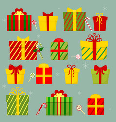 set of fourteen gift boxes with bow gifts vector image