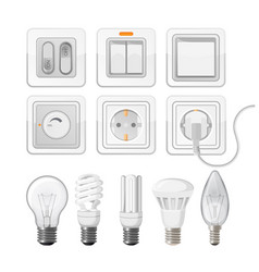 Set of light saving bulbs electric switches vector