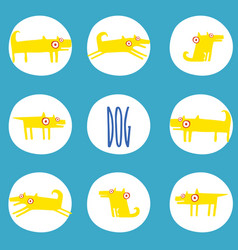 Set of stickers with yellow dogs in poses vector