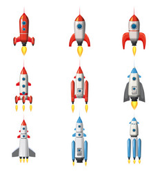 set rocket space ship isolated vector image